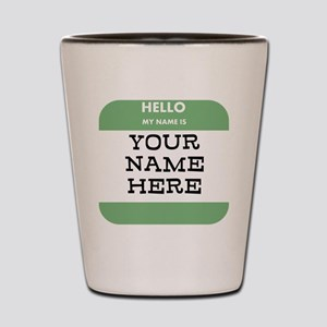 Custom Green Name Tag Shot Glass