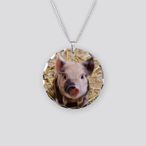 Piglet Necklace Circle Charm