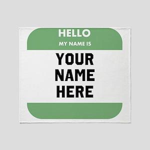 Custom Green Name Tag Throw Blanket