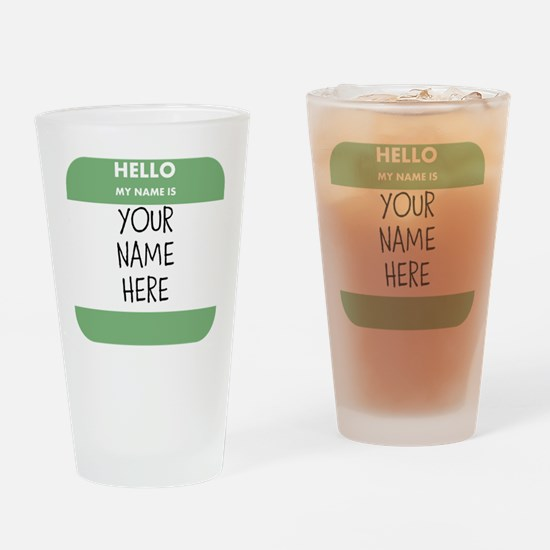 Custom Green Name Tag Drinking Glass