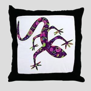 Purple Patchwork Lizard Throw Pillow