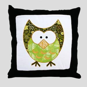 Green Patchwork Owl Throw Pillow