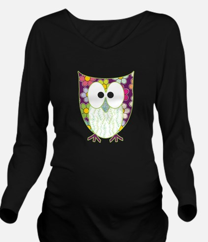 Floral Patchwork Owl Long Sleeve Maternity T-Shirt