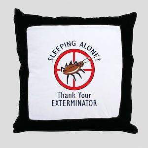 SLEEPING ALONE Throw Pillow