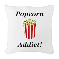 Popcorn Addict Woven Throw Pillow