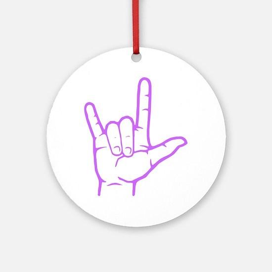 Purple I Love You Ornament (Round)