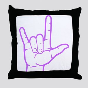 Purple I Love You Throw Pillow