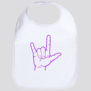 Purple I Love You Bib