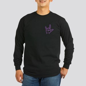 Purple I Love You Long Sleeve Dark T-Shirt