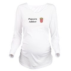 Popcorn Addict Long Sleeve Maternity T-Shirt