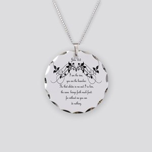 I Am The Vine Bible Necklace Circle Charm