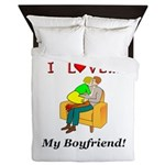 Love My Boyfriend Queen Duvet