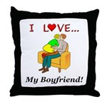 Love My Boyfriend Throw Pillow