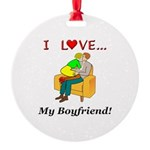 Love My Boyfriend Round Ornament
