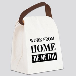 Work from home bw Canvas Lunch Bag