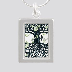 Celtic Tree Knot Silver Portrait Necklace