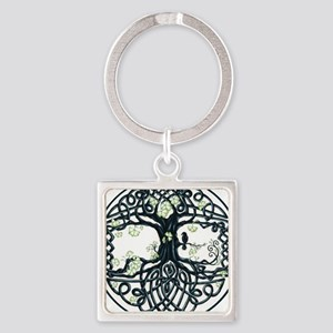 Celtic Tree Knot Square Keychain