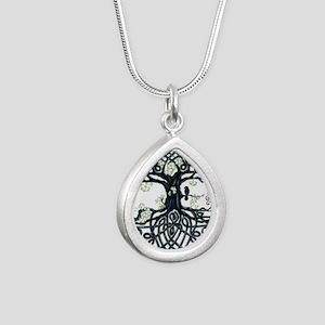 Celtic Tree Knot Silver Teardrop Necklace