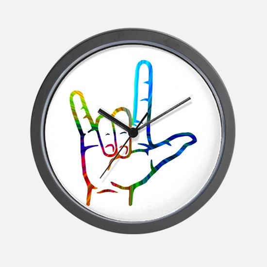 Rainbow Burst I Love You Wall Clock