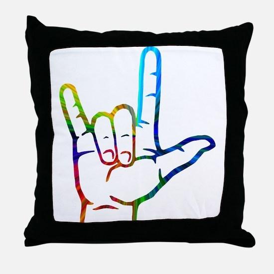 Rainbow Burst I Love You Throw Pillow