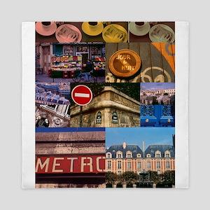 Paris Collage Queen Duvet