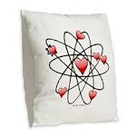 Atomic Valentine Burlap Throw Pillow