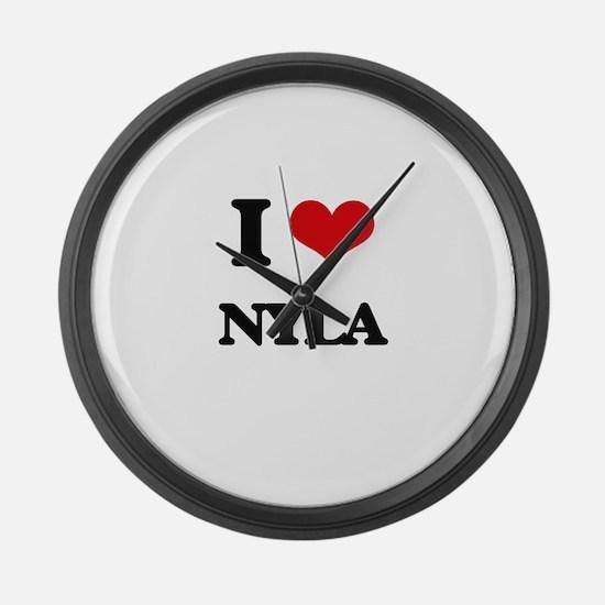 I Love Nyla Large Wall Clock