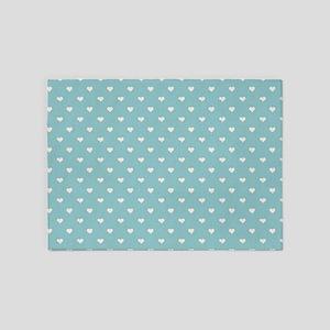 Robins Egg Blue Mini Hearts Retro Pattern 5'x7'Are