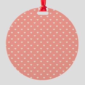 Salmon, Coral Mini Hearts Retro Pattern Ornament