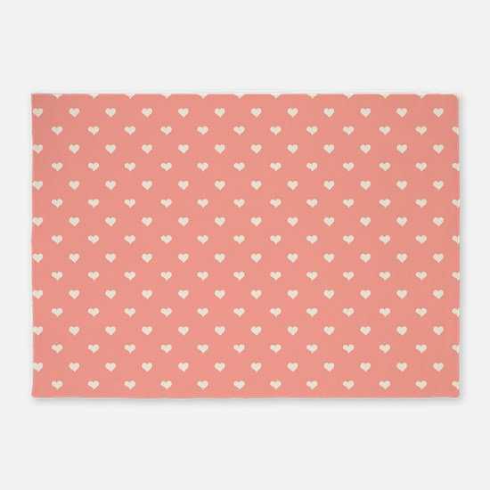 Salmon, Coral Mini Hearts Retro Pattern 5'x7'Area