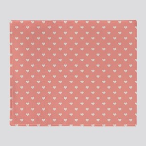 Salmon, Coral Mini Hearts Retro Pattern Throw Blan