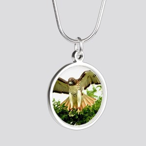 Texas Red Tail Hawk Silver Round Necklace