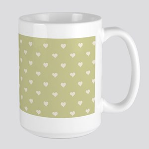 Sage Green Mini Hearts Retro Pattern Mugs