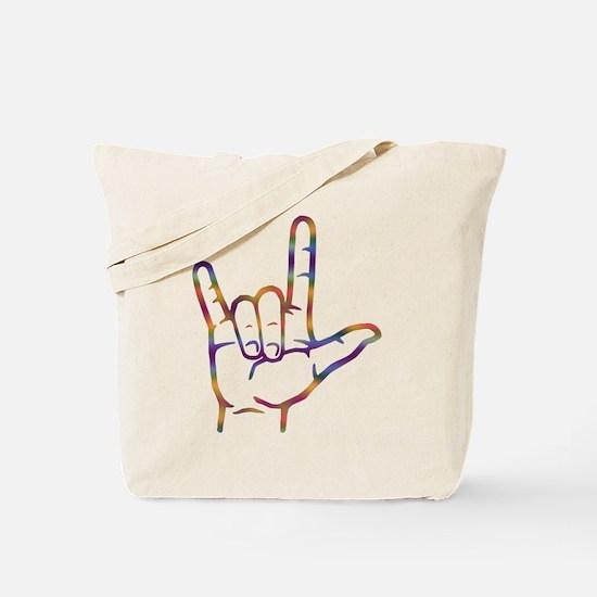 Tiedye I Love You Tote Bag