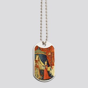 Lady and the Unicorn Medieval Tapestry Art Dog Tag
