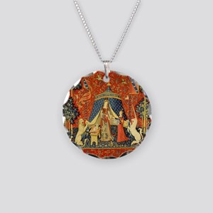 Lady and the Unicorn Medieval Tapestry Art Necklac