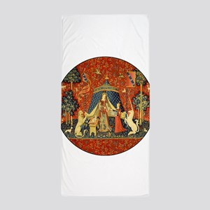 Lady and the Unicorn Medieval Tapestry Art Beach T