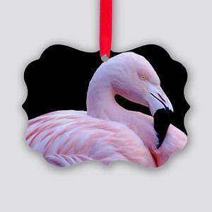 Pink Flamingo Picture Ornament