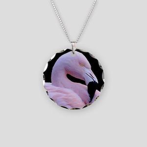Pink Flamingo Necklace Circle Charm