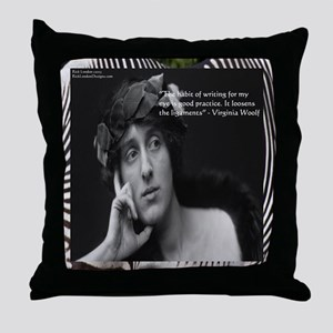 Virginia Woolf & Writing Quote Throw Pillow