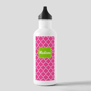 Pink Green Quatrefoil Personalized Water Bottle
