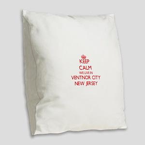 Keep calm we live in Ventnor C Burlap Throw Pillow