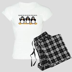 Three Wise Penguins Design Women's Light Pajamas