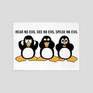 Three Wise Penguins Design Graphic 5'x7'Area Rug