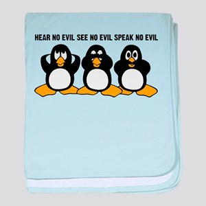 Three Wise Penguins Design Graphic baby blanket