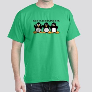 Three Wise Penguins Design Graphic Dark T-Shirt