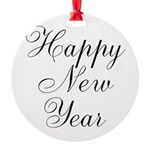 Happy New Year Black Script Ornament