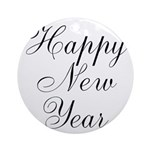 Happy New Year Black Script Ornament (Round)
