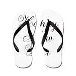 Happy New Year Black Script Flip Flops