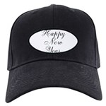 Happy New Year Black Script Baseball Hat